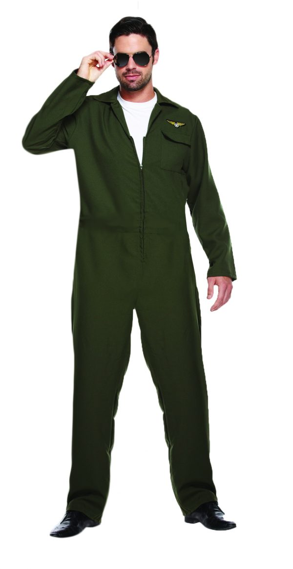 ce9324020633 ... Mens Top Gun Pilot Aviator Flight Suit Jumpsuit 80s Fancy Dress Costume.  U88066