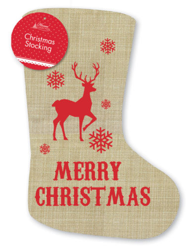 large hessian stocking sack merry christmas rustic vintage christmas decoration