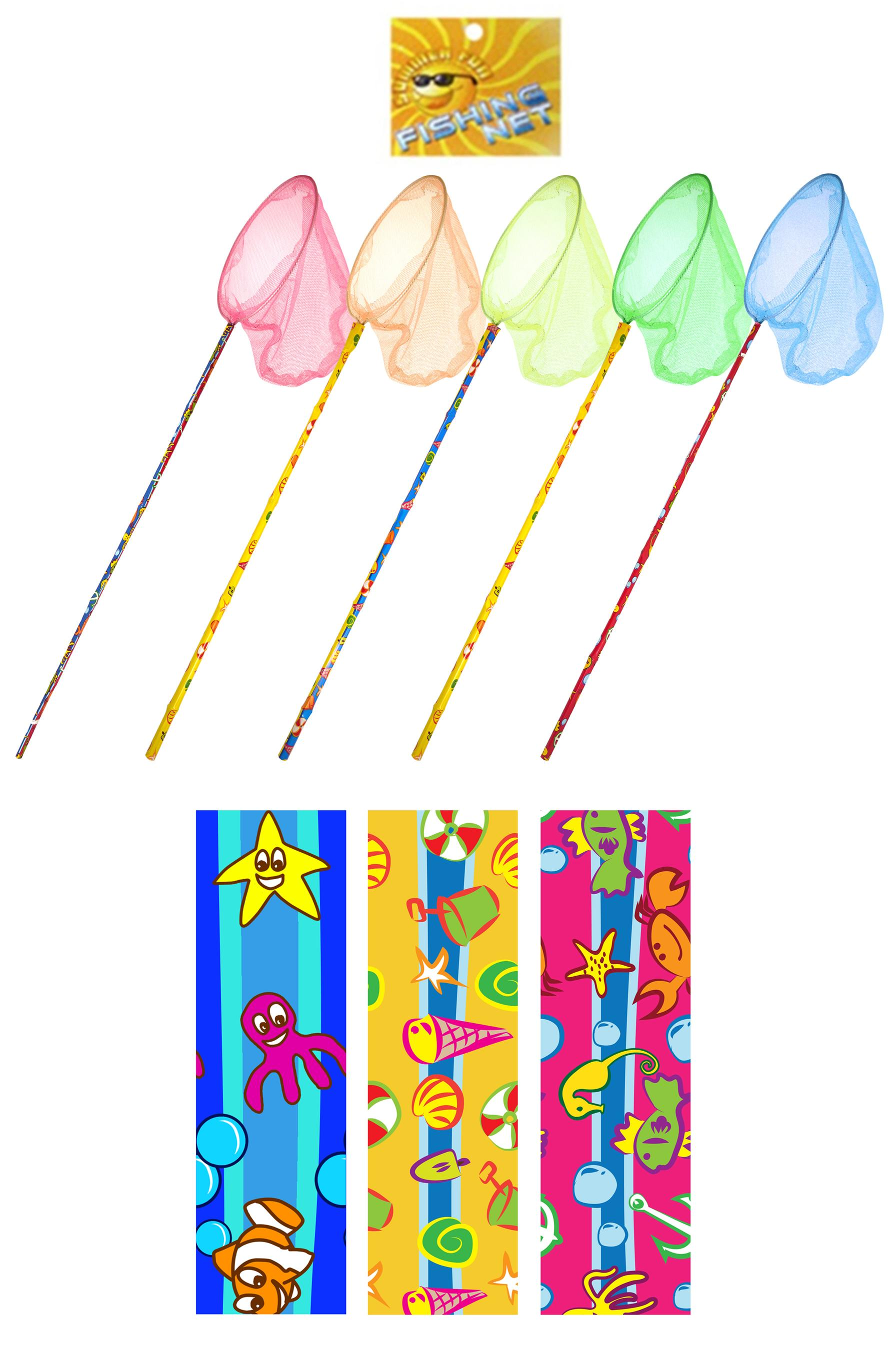 Fishing net 70cm printed assorted colours 17cm net kids for Kids fishing net