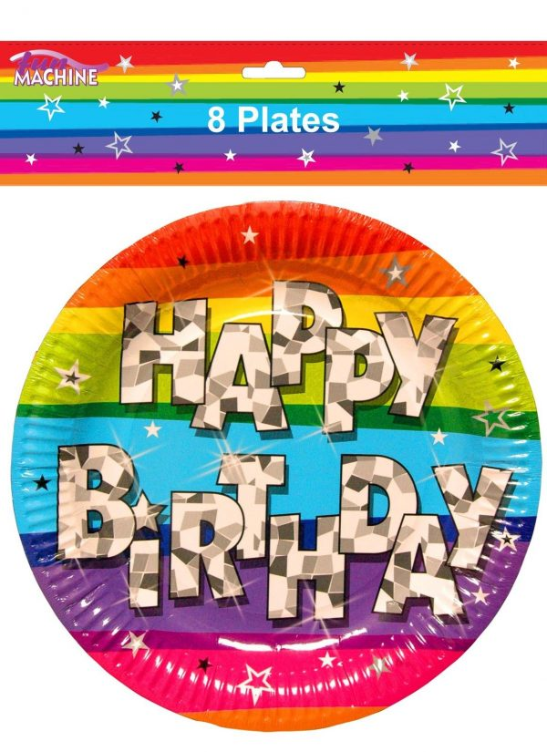 Pack 8 Multi Coloured Funky Party Tableware Happy Birthday Paper Plates  sc 1 st  Bargain WholeSalers & Pack 8 Multi Coloured Funky Party Tableware Happy Birthday Paper ...
