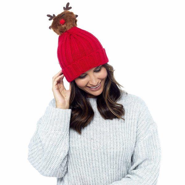 Christmas Reindeer Novelty Beanie Woolly Winter Hat - Bargain ... 0e402e99f0e