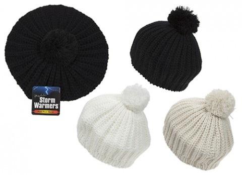 8edb0726561 Winter Acrylic Knitted Flat Ladies Beret With Pom Pom Assorted ...
